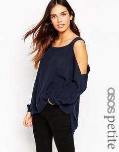 Джемпер крупной вязки с открытыми плечами и разрезами по бокам ASOS PETITE - Темно-синий