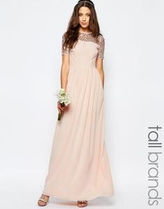 Шифоновое платье макси с отделкой Maya Tall - Розовый
