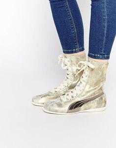 Высокие золотистые кроссовки Puma Eskiva - Золотой