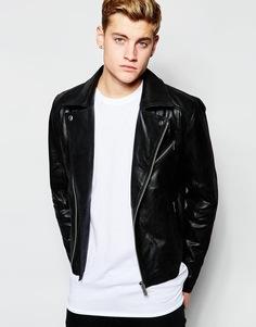 Кожаная байкерская куртка Solid - Черный !Solid