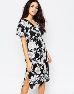Чайное платье миди с винтажным цветочным принтом Style London - Черный