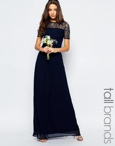 Шифоновое платье макси с отделкой Maya Tall - Темно-синий