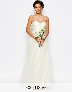 Свадебное платье макси из тюля Chi Chi London - Кремовый
