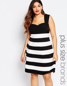Полосатое платье для выпускного в стиле колор блок Paper Dolls Plus