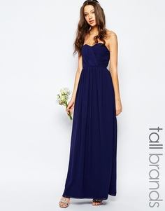 Шифоновое платье макси в стиле бандо TFNC Tall - Темно-синий