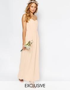 Шифоновое платье‑бандо макси TFNC WEDDING - Телесный