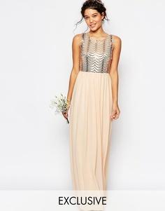 Платье макси с открытой спиной и пайетками TFNC WEDDING - Телесный