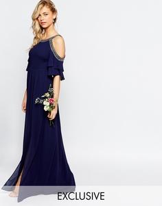 Платье макси с открытыми плечами TFNC WEDDING - Темно-синий