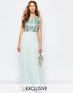 Платье макси с открытой спиной и пайетками TFNC WEDDING - Morning mist