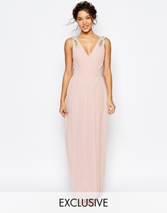Платье макси с запахом и отделкой TFNC WEDDING - Peach blush