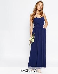 Шифоновое платье‑бандо макси TFNC WEDDING - Темно-синий