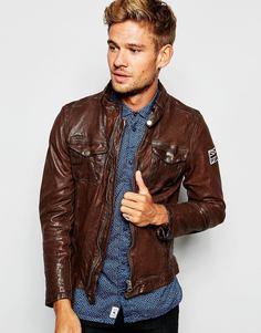 Кожаная байкерская куртка на молнии Pepe Guzzi - Коричневый