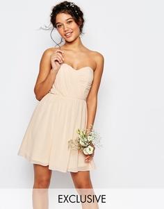 Шифоновое платье‑бандо мини TFNC WEDDING - Телесный