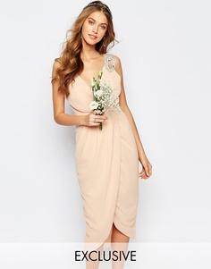 Платье миди с запахом и отделкой TFNC WEDDING - Телесный