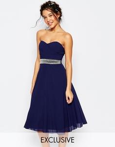 Платье для выпускного с запахом и отделкой TFNC WEDDING - Темно-синий