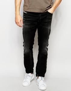 Черные эластичные джинсы скинни Diesel Tepphar 666Q - Выбеленный черный