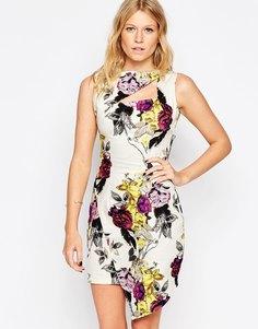 Асимметричное платье с вырезом и цветочным принтом Liquorish - Кремовый цветочный