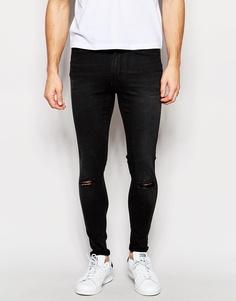 Черные винтажные супероблегающие джинсы с рваными коленками Waven Royd - Винтажный черный