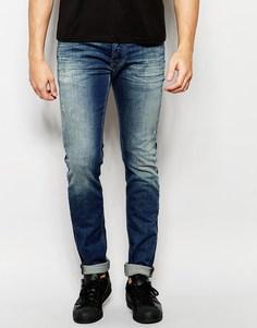 Эластичные рваные джинсы скинни Diesel Jeans Sleenker 84BI - Состаренный