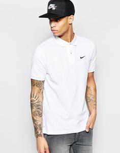 Футболка-поло из пике с логотипом-галочкой Nike 727654-101 - Белый