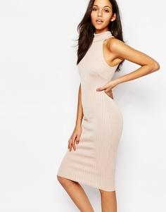 Платье-футляр миди с высокой горловиной Oh My Love - Blush