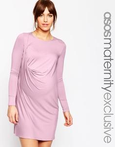 Платье-футболка с драпировкой ASOS Maternity - Розовый