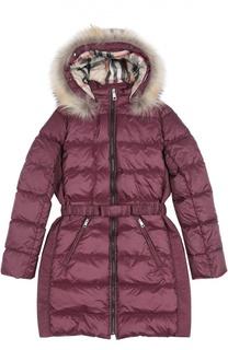 Пальто с капюшоном и поясом Burberry