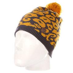 Шапка с помпоном женская Rip Curl Leopard Beanie Nugget Gold