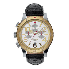 Часы Nixon 48-20 Chrono Leather Silver/Gold/Black