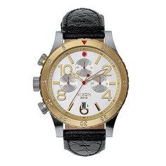 Часы Nixon 48-20 Chrono Leather Silver/Gold/Black