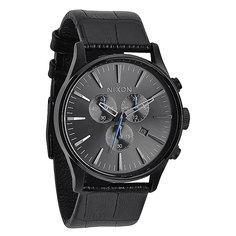 Часы Nixon Sentry Chrono Leather Black Gator