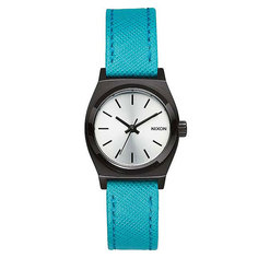 Часы женские Nixon Small Time Teller Leather Silver/Turquoise