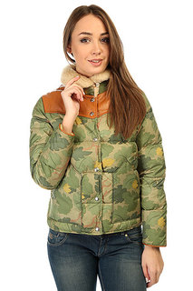 Пуховик женский Penfield Rockwool Camo Leather Yoke Down Jacket Olive