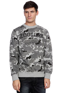 Толстовка классическая Zoo York Stencil Kit Crew Washed Black Camo