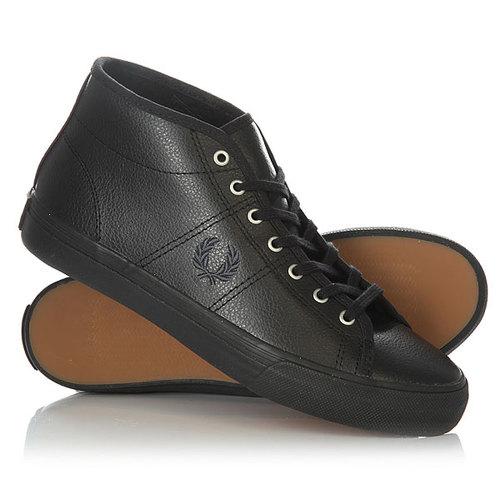 Кеды кроссовки высокие женские Fred Perry Haydon Mid Leather Black