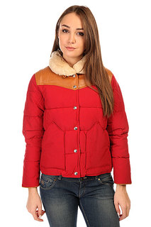 Пуховик женский Penfield Rockwool Leather Yoke Down Jacket Red
