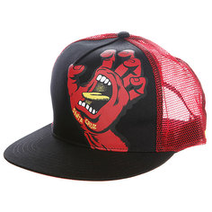 Бейсболка с сеткой Santa Cruz Screaming Hand Trucker Black/Red