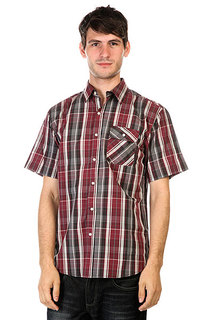 Рубашка Huf Fitzgerald Gingham L/S Button Up Burgundy/Grey