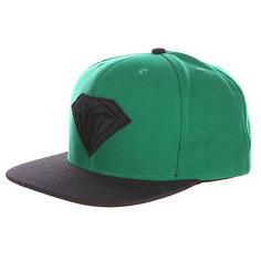 Бейсболка с прямым козырьком Diamond Emblem Green Black
