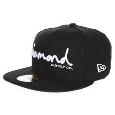 Бейсболка с прямым козырьком Diamond Og Script Fitted Hat Black