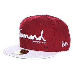 Бейсболка с прямым козырьком Diamond Og Script Fitted Hat Cardinal