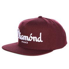 Бейсболка с прямым козырьком Diamond Champagne Snapback Maroon