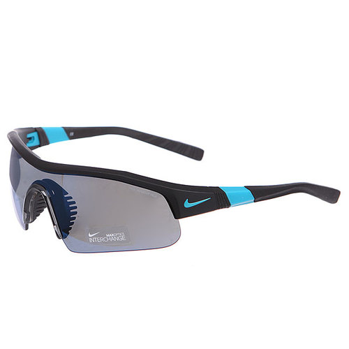 Очки Nike Show X1 Pro R Grey W/Sky Blue Flash Lens/Matte Black/Turbo Green