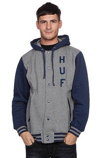 Куртка бомбер Huf Campus Snap Front Premium Hoodie Heather Gray/Navy