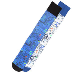 Носки сноубордические Quiksilver 4 Ways Type Printed Snow Socks White/Blue