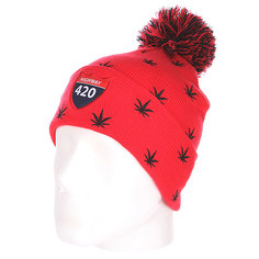 Шапка с помпоном TrueSpin Weedy Pom Beanie Red/Black