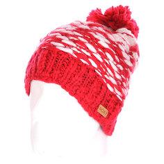 Шапка с помпоном женская Roxy Snow Slide Pompeian Red