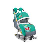 Санки-коляска Ника детям 7-2, Коллаж-лисички, зеленый/серый