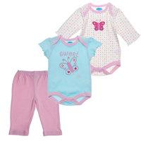 Bon Bebe Комплект Боди с длинным рукавом, боди с коротким рукавом и штанишки, 3 предмета для девочки -