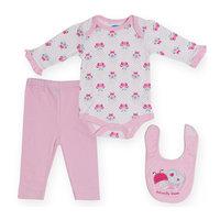 Bon Bebe Комплект Боди с длинным рукавом, штанишки и нагрудник, 3 предмета для девочки -